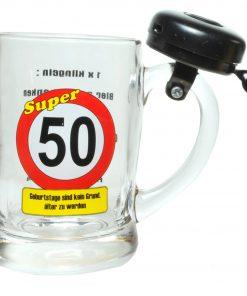 Bierseidel mit Klingel zum 50. Geburtstag